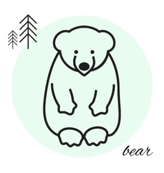 bear thin line icon vector image vector image
