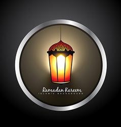 Beautiful ramadan kareem lamp label vector