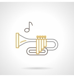 Brass wind instrument flat line icon vector image vector image