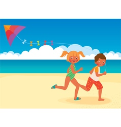 Children running with a kite on the beach vector image vector image