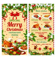 christmas dinner restaurant dish menu vector image vector image