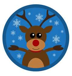 christmas funny deer flat design vector image
