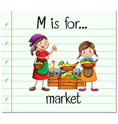 Flashcard alphabet m is for market vector