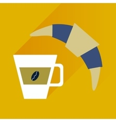 Flat with shadow icon coffee and croissant vector