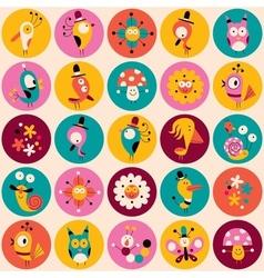 Flowers birds mushrooms snails characters circles vector