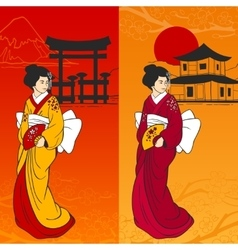 Geisha banner vertical vector