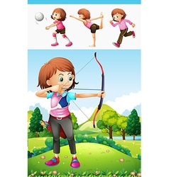 Girl doing archery and other sports vector