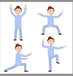 Girl performing qigong or taijiquan exercises vector