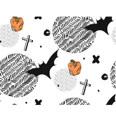 hand drawn seamless halloween abstract vector image vector image