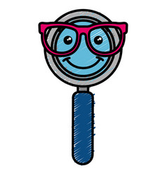 Magnifying glass with glasses kawaii character vector