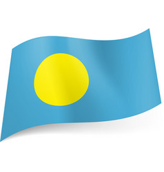 National flag of palau yellow circle on blue vector