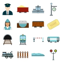 Railroad flat icons set vector image vector image