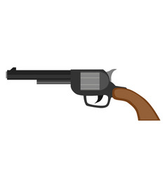 Revolver gun pistol vintage handgun weapon white vector