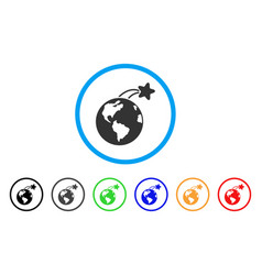 rising satellite on earth rounded icon vector image