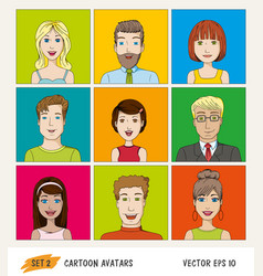 set of cartoon people avatar icons vector image vector image