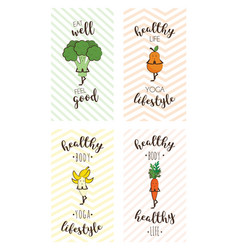 Set of cute posters of fruits and vegetables doing vector