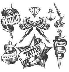 Set of tattoo labels in vintage vector