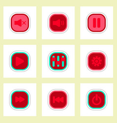 Set ofcolor label design icon design buttons music vector