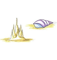 Set sandy castle and shell vector