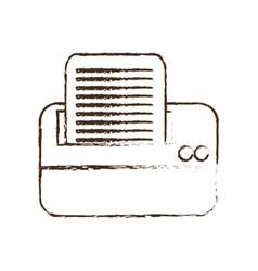 Sketch draw printer work office copy equipment vector
