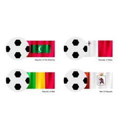 Soccer Ball with Maldives Malta Mali Flag vector image vector image