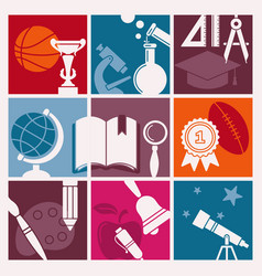 symbols school in retro style vector image