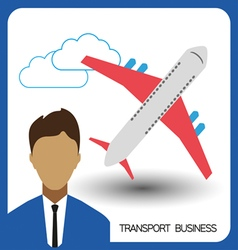 Transport business with a person and plane flat de vector