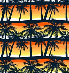 Tropical palms trees at sunset in a seamless vector image vector image
