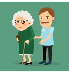 Volunteer man caring for elderly woman vector image vector image