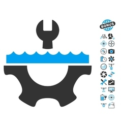 Water service gear icon with air drone tools bonus vector