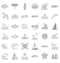 Water supply source icons set outline style vector