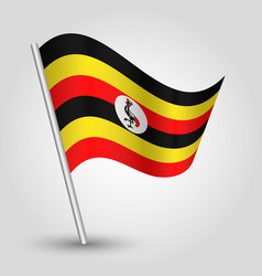 Waving simple triangle ugandan flag on slanted vector