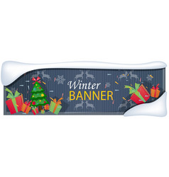winter sale banner with trees and gift vector image