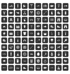 100 bbq icons set black vector image vector image