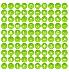 100 bbq icons set green circle vector