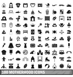 100 motherhood icons set simple style vector