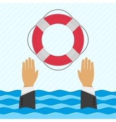Background with hand and lifebuoy vector