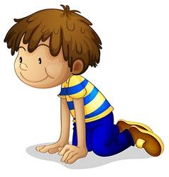cartoon boy kneeling vector image