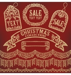 Calligraphic collection of christmas symbols vector