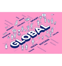 Three dimensional word global with people vector