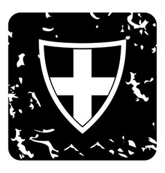 Swiss shield icon grunge style vector