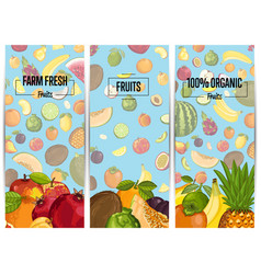 Farm fresh fruit vertical flyers set vector