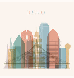 dallas state texas skyline detailed silhouette vector image