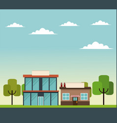 Glass building commercial store road trees design vector