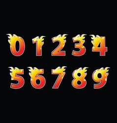 Numbers fire logo design vector