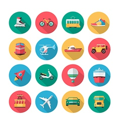 Transport icons in flat style with long shadow vector