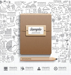 Infographic book with doodles line drawing success vector