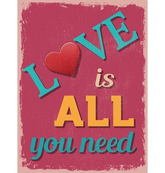 Valentines day poster retro vintage design love is vector