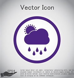 Weather icon sun behind the cloud with rain vector