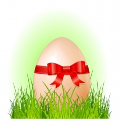 Easter big egg with bow vector image